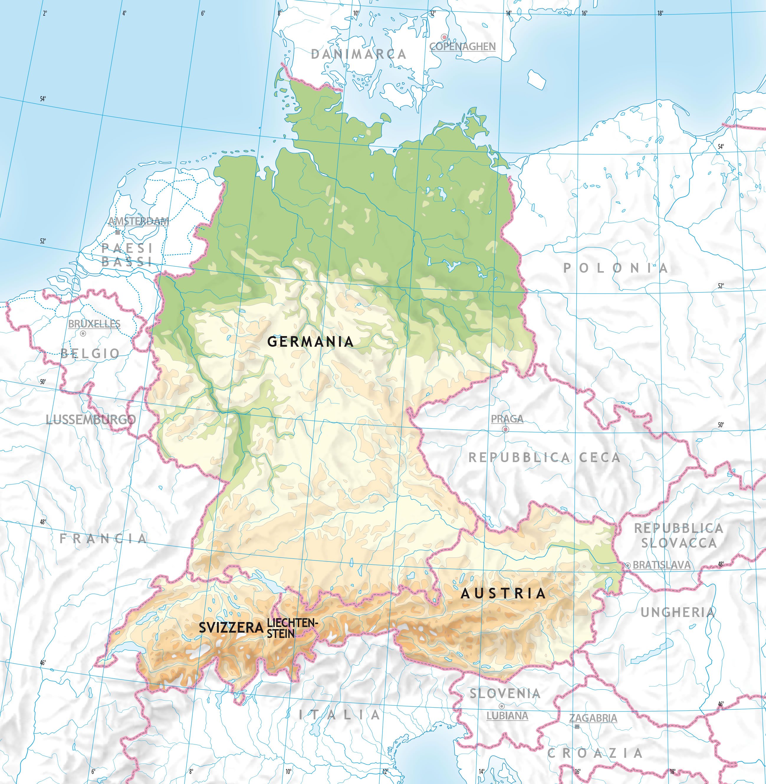 Germania Cartina Muta.Carta Geografica